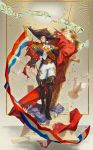 1boy absurdres bara beard belt bird blue_eyes boots brown_hair cannon chest cloak collar confetti cravat epaulettes facial_hair fate/grand_order fate_(series) french_flag french_text fringe_trim full_body gecl4 goatee hat highres huge_weapon large_hat long_sleeves looking_at_viewer male_focus manly medal military military_uniform napoleon_bonaparte_(fate/grand_order) pants pose sash shiny shiny_clothes sideburns solo stairs swan tagme thick_thighs thighs tight uniform weapon white_pants