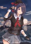 1girl absurdres ariake_(kantai_collection) beret black_gloves black_hair black_headwear black_jacket clouds collared_shirt commentary_request cowboy_shot fingerless_gloves gloves gradient_sky grey_skirt hair_over_one_eye hat highres jacket kantai_collection long_hair long_sleeves looking_at_viewer mountain necktie ocean outdoors pleated_skirt red_neckwear sg_tacchi shirt skirt sky solo sunrise violet_eyes