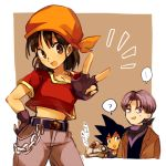 ... 1girl 2boys :d ? bandana bangs belt black_hair blush border brown_eyes chain commentary_request denim dragon_ball dragon_ball_gt eyebrows_visible_through_hair fingerless_gloves giru_(dragon_ball) gloves hand_on_hip jacket jeans looking_at_viewer medium_hair midriff multiple_boys neckerchief neko_ni_chikyuu notice_lines open_mouth orange_bandana outside_border pan_(dragon_ball) pants purple_hair purple_neckwear red_shirt robot shirt smile son_gokuu spiky_hair spoken_ellipsis spoken_question_mark standing sweatdrop translation_request trunks_(dragon_ball) violet_eyes w white_border