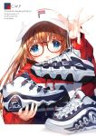 1girl :d bangs blue_eyes brown_hair commentary_request drawstring eyebrows_visible_through_hair fila glasses hair_between_eyes highres holding holding_footwear holding_shoes hood hood_down hoodie long_hair looking_at_viewer open_mouth original red-framed_eyewear red_hoodie shimesaba_kohada shoes simple_background smile sneakers solo upper_body visor_cap white_background white_footwear white_headwear
