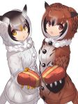 2girls :o bangs black_hair brown_coat brown_hair coat eurasian_eagle_owl_(kemono_friends) eyebrows_visible_through_hair eyes_visible_through_hair fur_collar gloves hair_between_eyes heart kemono_friends looking_at_viewer multicolored_hair multiple_girls northern_white-faced_owl_(kemono_friends) orange_hair red_eyes short_hair simple_background tadano_magu valentine white_background white_coat white_gloves white_hair yellow_gloves