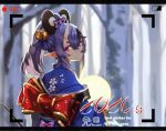 1girl 2020 :/ animal_ears back_bow bell black_hair blush bow chinese_zodiac english_text fake_animal_ears floral_print gold_trim hair_bell hair_between_eyes hair_bow hair_ornament highres horns japanese_clothes jingle_bell kimono lavender_hair long_hair looking_at_viewer looking_back mole mole_under_mouth mouse_ears multicolored_hair new_year nijisanji obi oni oni_horns pointy_ears pom_pom_(clothes) ponytail pov print_kimono recording rindou_mikoto sash short_eyebrows sidelocks skin-covered_horns solo streaked_hair super_h2o thick_eyebrows upper_body viewfinder violet_eyes virtual_youtuber wide_sleeves year_of_the_rat
