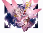 1girl ass boots elbow_gloves fate/kaleid_liner_prisma_illya fate_(series) feathers floating garters gloves hair_feathers holding holding_wand illyasviel_von_einzbern long_hair magical_girl magical_ruby panties prisma_illya red_eyes solo thigh-highs thigh_boots two_side_up underwear wand white_gloves white_panties ycco_(estrella)