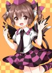1girl :d \||/ animal_ear_fluff animal_ears blouse brown_eyes brown_hair cat_ears cat_tail cellphone checkered checkered_skirt chen collared_shirt cosplay eyebrows_visible_through_hair fang flip_phone frilled_shirt_collar frills hand_up hat highres himekaidou_hatate himekaidou_hatate_(cosplay) holding holding_phone multiple_tails necktie open_mouth orange_background phone purple_neckwear ruu_(tksymkw) shirt short_hair short_sleeves short_twintails skirt smile solo tail tokin_hat touhou twintails two_tails waving white_blouse