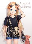 1girl abigail_williams_(fate/grand_order) asle bangs black_bow black_shirt blonde_hair blue_eyes blue_shorts blush bottle bow breasts character_name commentary_request denim denim_shorts fate/grand_order fate_(series) forehead hair_bow long_hair looking_at_viewer mixed-language_commentary multiple_bows open_mouth orange_bow parted_bangs partial_commentary polka_dot polka_dot_bow shirt short_shorts short_sleeves shorts small_breasts smile stuffed_animal stuffed_toy teddy_bear thighs