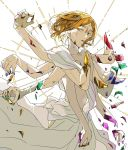 androgynous artist_request bangs breaking broken colored_eyelashes cracked crystal_hair dress extra_arms hair_between_eyes highres houseki_no_kuni open_mouth simple_background standing white_background white_dress yellow_diamond_(houseki_no_kuni) yellow_eyes