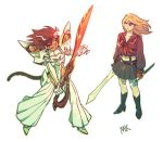 2girls adora_(she-ra) animal_ears blonde_hair brown_hair cat_ears cat_girl cat_tail catra cosplay covered_navel freckles highres kill_la_kill kiryuuin_satsuki kiryuuin_satsuki_(cosplay) masters_of_the_universe matoi_ryuuko matoi_ryuuko_(cosplay) midriff mondaykilly multiple_girls navel open_mouth scabbard scissor_blade senketsu she-ra_and_the_princesses_of_power sheath suspenders sword tail weapon