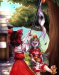 2girls catching food food_on_head fruit fruit_on_head gohei hakurei_reimu hakurei_shrine highres japanese_clothes komainu komano_aun lying miko multiple_girls object_on_head on_back outdoors sleep_(isliping) tongue tongue_out touhou tree