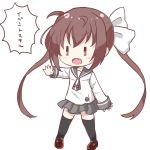 1girl ahoge bangs black_footwear black_legwear blush bow brown_eyes brown_hair chibi collarbone eyebrows_visible_through_hair fang full_body grey_neckwear grey_sailor_collar grey_skirt hair_between_eyes hair_bow highres loafers long_hair long_sleeves momochi_tamate open_mouth outstretched_arm pleated_skirt sailor_collar school_uniform serafuku shika_(s1ka) shirt shoes simple_background skirt slow_start solo standing thigh-highs translation_request twintails v-shaped_eyebrows very_long_hair white_background white_bow white_shirt