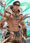 1boy abs bara beard brown_hair bulge chest dark_skin dark_skinned_male facial_hair headband jewelry kienbiu looking_at_viewer male_focus manly muscle navel necklace nipples pectorals pointy_ears revealing_clothes snake solo spiky_hair tangaroa tattoo tokyo_houkago_summoners upper_body white_hair yellow_eyes