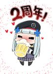 absurdres alcohol beer beret blush chibi closed_eyes drunk girls_frontline hat highres hk416_(girls_frontline) junsuina_fujunbutsu silver_hair