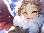 1boy bangs bird blue_sky blurry blurry_background blush boku_no_hero_academia brown_jacket commentary_request day face fur_collar fur_trim hawks_(boku_no_hero_academia) jacket lower_teeth open_mouth outdoors red_wings sal sky slit_pupils smile solo upper_teeth wings