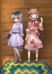 2girls :o absurdres alternate_costume bag belt belt_bow bird_tail black_bow black_neckwear blonde_hair bow bowtie bracelet brown_eyes brown_hair casual collared_dress dress eurasian_eagle_owl_(kemono_friends) eyebrows_visible_through_hair floral_print frilled_sleeves frills grey_dress grey_hair hair_between_eyes handbag head_wings high_heels highres jewelry kemono_friends multicolored_hair multiple_girls necklace northern_white-faced_owl_(kemono_friends) pantyhose pearl_necklace short_hair short_sleeves tadano_magu white_hair white_legwear yellow_eyes