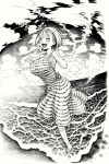 1girl armpits bangs beach blush breasts clenched_hands closed_eyes clouds cloudy_sky dress fisheye greyscale hands_up highres imomonono large_breasts monochrome open_mouth original short_hair sky smile solo striped striped_dress waves wet