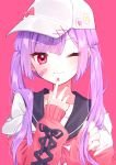1girl :3 absurdres badge bandaid bangs button_badge hat heart highres hinakano_h nail_polish one_eye_closed original pink_background purple_hair red_eyes ribbon school_uniform serafuku simple_background smile star_(symbol) twintails