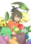 1girl absurdres artist_name bangs bayleef blush budew bulbasaur commentary_request ditto eyebrows_visible_through_hair gen_1_pokemon gen_2_pokemon gen_3_pokemon gen_4_pokemon green_eyes green_hair highres holding holding_pokemon looking_down notani_manjuu oddish open_mouth orange_sweater pokemon pokemon_(creature) roselia short_hair sidelocks sunkern sweater teeth tongue transform_(pokemon) upper_teeth white_background
