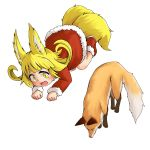1girl :3 absurdres animal_ears bad_id bad_twitter_id blonde_hair boots doitsuken dress eyebrows_visible_through_hair fang fox fox_child_(doitsuken) fox_ears fox_tail fur-trimmed_dress fur_trim highres jumping multiple_tails original paw_pose red_dress red_footwear simple_background smile solo tail thick_eyebrows two_tails white_background yellow_eyes