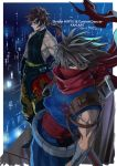2boys arm_guards bandaged_arm bandages blue_eyes border brown_hair cannon_dancer commentary_request copyright_name covered_mouth creator_connection crossover dragon_print hand_on_hip indesign kirin_(cannon_dancer) long_hair male_focus multiple_boys muscle ninja ponytail red_eyes red_scarf sash scarf serious spiky_hair standing strider_(video_game) strider_hiryuu white_border