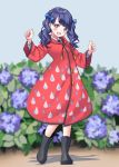 1girl bangs blue_hair blurry blurry_background blush boots clenched_hands coat collared_shirt darumaya_(azarasidesuyone) eyebrows_visible_through_hair flower fukumaru_koito highres hooded_coat idolmaster idolmaster_shiny_colors long_sleeves neck_ribbon open_mouth outdoors purple_flower raincoat raindrop_print red_coat ribbon rubber_boots shadow shirt twintails violet_eyes white_shirt