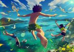 3boys animal anklet back bare_arms barefoot bird brown_hair caustics child clouds commentary_request day dive diving_mask feet flower foreshortening from_behind jewelry jumping lens_flare male_focus male_swimwear multiple_boys noeyebrow_(mauve) ocean original outstretched_arms seagull shirt shirtless short_sleeves signature sky snorkel spread_arms summer sun swim_trunks swimwear t-shirt yellow_flower