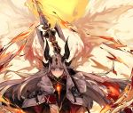 1girl arknights armband black_gloves blue_eyes dragon_horns dragon_tail fiery_wings fire gloves highres horns long_hair over_shoulder polearm reed_(arknights) spear tail weapon weapon_over_shoulder white_hair yan_ge