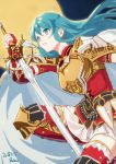 1girl 2018 bangs blue_eyes blue_hair breastplate dated earrings eirika_(fire_emblem) elbow_gloves eyebrows_visible_through_hair fingerless_gloves fire_emblem fire_emblem:_the_sacred_stones floating_hair full_moon gloves hair_between_eyes holding holding_sword holding_weapon jacket jewelry long_hair miniskirt moon parted_lips pleated_skirt red_gloves red_jacket red_legwear short_sleeves signature sketch skirt solo sword t_keima thigh-highs very_long_hair weapon white_skirt