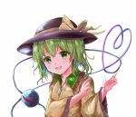 1girl :d absurdres arm_across_chest arms_up black_headwear collar commentary frilled_shirt_collar frilled_sleeves frills green_collar green_eyes green_hair hat hat_ribbon head_tilt heart heart_of_string highres ikazuchi_akira komeiji_koishi light_blush long_sleeves looking_at_viewer open_mouth ribbon shirt short_hair simple_background smile solo standing third_eye touhou upper_body white_background wide_sleeves yellow_shirt