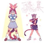 animal_ears arms_up brown_hair cat_ears cat_girl cat_tail catra claws cosplay heterochromia highres kill_la_kill looking_at_viewer mankanshoku_mako mankanshoku_mako_(cosplay) masters_of_the_universe matoi_ryuuko matoi_ryuuko_(cosplay) midriff mondaykilly navel open_mouth parody pose sailor_collar school_uniform scorpia scorpion_girl scorpion_tail senketsu she-ra_and_the_princesses_of_power short_hair silver_hair skirt smile standing suspenders tail
