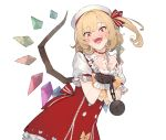 1girl adapted_costume ball_and_chain_restraint blonde_hair bound bound_wrists choker cuffs dress eho_(icbm) fangs flandre_scarlet hat head_tilt highres looking_at_viewer medium_hair open_mouth orange_eyes pointy_ears red_choker red_dress ribbon_trim shirt short_sleeves side_ponytail simple_background sleeveless sleeveless_dress smile solo touhou white_background white_headwear white_shirt wings wrist_cuffs