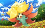 :d clouds commentary_request day field flower flower_field full_body gen_8_pokemon gossifleur hakuginnosora looking_at_viewer no_humans open_mouth outdoors petals pokemon pokemon_(creature) sky smile solo tongue tree