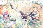 2girls absurdres ace_of_clubs alice_(wonderland) alice_in_wonderland argyle argyle_legwear balloon bangs black_legwear blonde_hair blue_eyes blue_footwear blue_ribbon blue_sailor_collar blue_skirt blush book bow box breasts brown_bow card checkerboard_cookie club_(shape) commentary_request cookie cup diamond_(shape) eyebrows_visible_through_hair flower food frilled_umbrella fruit gift gift_box gloves green_bow green_umbrella hair_between_eyes hair_flower hair_ornament hair_ribbon hairclip heart highres holding holding_food holding_umbrella huge_filesize kneehighs loafers long_hair medium_breasts minigirl mismatched_legwear multiple_girls mushroom open_book pantyhose pantyhose_under_kneehighs pennant playing_card pleated_skirt pocket_watch puffy_short_sleeves puffy_sleeves rainbow ribbon roman_numerals sailor_collar sakura_oriko saucer shirt shoes short_sleeves skirt spoon star_(symbol) strawberry string_of_flags striped striped_legwear teacup umbrella vertical-striped_legwear vertical_stripes very_long_hair watch white_bloomers white_flower white_gloves white_legwear white_shirt