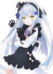 1girl absurdres animal animal_hug apron bangs black_apron black_cat black_hairband black_headwear black_ribbon blush bow cat checkered commentary_request dress eyebrows_visible_through_hair facial_mark flying_sweatdrops frilled_apron frills girls_frontline green_eyes hair_ornament hair_ribbon hairband hat highres hk416_(girls_frontline) long_hair long_sleeves looking_at_viewer mini_hat mini_top_hat mint_(psmin30) parted_lips ribbon silver_hair simple_background solo tilted_headwear top_hat two_side_up very_long_hair white_background white_dress
