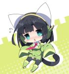 1girl bangs bare_shoulders black_hair black_legwear blue_eyes blush boots cat_tail chibi collared_shirt commentary_request detached_sleeves drop_shadow eyebrows_visible_through_hair fang flying_sweatdrops full_body green_background green_footwear green_jacket green_skirt green_sleeves halftone halftone_background headphones highres jacket kemonomimi_mode knee_boots kyoumachi_seika long_sleeves looking_at_viewer milkpanda nose_blush parted_lips shirt short_eyebrows skirt sleeveless sleeveless_jacket sleeveless_shirt sleeves_past_fingers sleeves_past_wrists solo tail thick_eyebrows thigh-highs thighhighs_under_boots triangle_mouth two-tone_background voiceroid white_background white_shirt