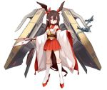 1girl absurdres aircraft aircraft_carrier airplane bangs bare_shoulders bell breasts brown_choker brown_hair choker commentary_request hair_bell hair_between_eyes hair_ornament hair_ribbon head_wings highres holding kneehighs long_hair long_sleeves looking_at_viewer military military_vehicle multicolored_sleeves original pleated_skirt pointy_ears red_eyes red_footwear red_skirt red_sleeves ribbon rocket sailor_collar ship shirt simple_background skirt sleeveless sleeveless_shirt small_breasts solo warship watercraft white_background white_legwear white_shirt white_sleeves wide_sleeves zen_o