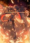 1girl armor blue_cape blue_eyes blue_hair cape dark_sky embers falchion_(fire_emblem) fire fire_emblem fire_emblem_awakening gloves highres holding holding_sword holding_weapon k3nzoteruta looking_at_viewer lucina lucina_(fire_emblem) pose scabbard serious sheath solo standing strap sword symbol-shaped_pupils tree weapon