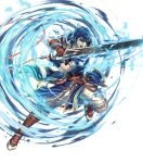 1boy armor bangs blue_eyes blue_hair fire_emblem fire_emblem:_new_mystery_of_the_emblem fire_emblem_heroes full_body gloves highres holding holding_sword holding_weapon izuka_daisuke kris_(fire_emblem) leg_up official_art open_mouth short_hair short_sleeves solo sword transparent_background weapon