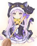 1girl animal_ears animal_hood bell black_capelet black_footwear black_jacket black_skirt blush bow brown_background capelet cat_ears cat_hood cat_tail closed_mouth commentary_request fake_animal_ears full_body fur-trimmed_capelet fur-trimmed_hood fur-trimmed_skirt fur-trimmed_sleeves fur_trim gradient gradient_background highres holding holding_staff hood hood_up hooded_capelet jacket jingle_bell kyouka_(princess_connect!) long_hair long_sleeves looking_at_viewer low_twintails paw_shoes pointy_ears princess_connect! princess_connect!_re:dive purple_bow purple_hair red_eyes shoes sitting skirt sleeves_past_wrists solo staff swon_(joy200892) tail tail_bow tail_raised twintails very_long_hair wariza white_background wide_sleeves yellow_bow