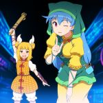 2girls apron arm_ribbon arm_up armor armored_dress bangs black_background blonde_hair bloomers blue_background blue_hair blunt_bangs blurry blurry_background blush bob_cut commentary_request cowboy_shot double_bun dress drooling finger_to_cheek green_headwear hair_ribbon hand_on_own_thigh haniwa_(statue) haniyasushin_keiki highres hood joutouguu_mayumi leaning_forward long_hair magatama magatama_necklace multiple_girls one_eye_closed open_mouth puffy_short_sleeves puffy_sleeves ribbon shirosato short_sleeves standing touhou two-tone_background underwear vambraces very_long_hair violet_eyes wood_carving_tool yellow_dress yellow_eyes
