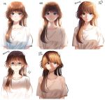 1girl arrow_(symbol) bangs blue_eyes blush breasts brown_hair closed_mouth collarbone commentary_request cropped_torso eyebrows_visible_through_hair highres korean_commentary korean_text long_hair looking_at_viewer menna_(0012) multiple_views original shadow shirt short_sleeves simple_background small_breasts smile sunlight translation_request upper_body white_background white_shirt