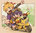 2girls blonde_hair character_request clenched_hand dr._slump ducati ducati_st2 glasses gloves goggles goggles_on_headwear grey_eyes ground_vehicle helmet kiichi long_hair motor_vehicle motorcycle motorcycle_helmet multiple_girls norimaki_arale one_eye_closed purple_hair red_gloves tied_hair
