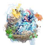 closed_mouth commentary_request electricity gen_1_pokemon gen_6_pokemon greninja highres mikami no_humans pikachu pink_eyes pokemon pokemon_(creature) rock tongue water