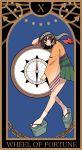1girl brown_hair card_(medium) compass green_hakama hakama hakama_skirt headband highres hiryuu_(kantai_collection) japanese_clothes kantai_collection open_mouth rirashi sandals short_hair solo torn_headband wheel_of_fortune_(tarot_card) wide_sleeves