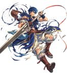 1boy armor bangs belt blue_eyes blue_hair boots broken broken_armor broken_weapon clenched_teeth fire_emblem fire_emblem:_new_mystery_of_the_emblem fire_emblem_heroes full_body gloves highres holding holding_sword holding_weapon izuka_daisuke knee_boots kris_(fire_emblem) official_art pants parted_lips short_hair solo sword teeth torn_clothes torn_pants transparent_background weapon