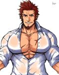 1boy abs bara blue_eyes brown_hair bursting_pecs chest collar covered_nipples facial_hair fate/grand_order fate_(series) goatee highres imminent_hug k_ei3k looking_at_viewer male_focus muscle napoleon_bonaparte_(fate/grand_order) open_clothes open_shirt pectorals pov scar see-through sideburns smile solo unbuttoned