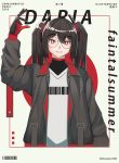 1girl absurdres album_cover barcode_print black_hair cover frills glasses gloves highres itsuwami jacket red_eyes twintails