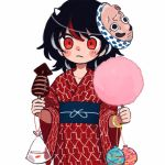 arrow_(symbol) bag bagged_fish black_hair blush_stickers bracelet commentary cotton_candy cowboy_shot fish food glowstick goldfish holding holding_food horns hyottoko_mask ikayaki japanese_clothes jewelry kijin_seija kimono looking_at_viewer mask mask_on_head multicolored_hair print_kimono red_eyes red_kimono redhead simple_background streaked_hair summer_festival touhou water_balloon water_yoyo white_background white_hair wide_sleeves yoi_(yoi99yoi) yukata