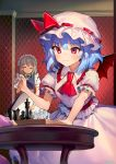 2girls ainy77 ascot bat_wings blue_hair board_game bow braid chess closed_eyes closed_mouth commentary_request eyebrows_visible_through_hair green_bow grey_hair hair_bow hat highres indoors izayoi_sakuya maid maid_headdress mob_cap multiple_girls puffy_short_sleeves puffy_sleeves red_eyes red_neckwear remilia_scarlet short_hair short_sleeves skirt table touhou twin_braids white_headwear white_skirt wings
