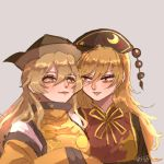 2girls artist_name artist_request blonde_hair chinese_clothes constellation_print crescent grey_background highres junko_(touhou) lipstick long_hair long_sleeves looking_at_another makeup matara_okina multiple_girls tabard touhou wide_sleeves yellow_eyes