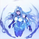 1girl absurdres android bare_shoulders blue_hair breasts bubble elbow_gloves forehead_protector gloves highres kos-mos kos-mos_re: large_breasts long_hair microskirt negresco red_eyes skirt solo thigh-highs very_long_hair xenoblade_(series) xenoblade_2 xenosaga