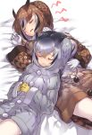 2girls black_hair blonde_hair brown_coat brown_hair buttons closed_eyes coat commentary_request eurasian_eagle_owl_(kemono_friends) eyebrows_visible_through_hair fur_collar gloves grey_hair hands_clasped highres kemono_friends multicolored_hair multiple_girls northern_white-faced_owl_(kemono_friends) own_hands_together pantyhose short_hair sleeping sleeping_on_person tadano_magu white_coat white_gloves white_hair white_legwear winter_clothes winter_coat yellow_gloves
